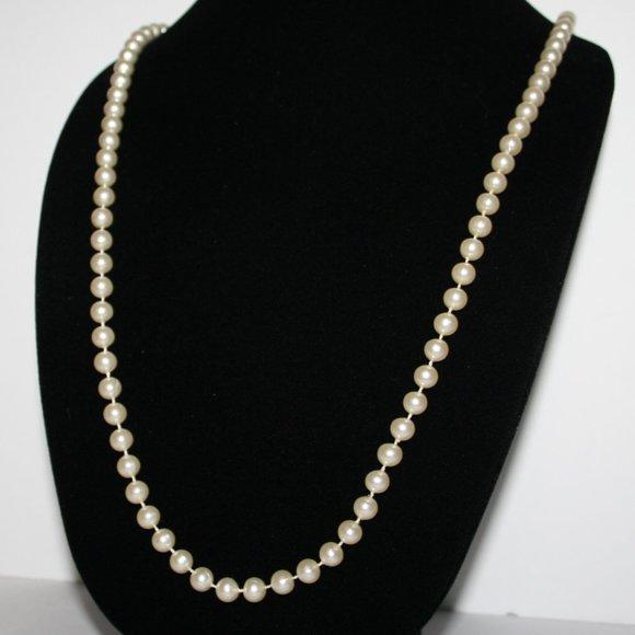 """Pretty 35"""" off white pearl necklace"""